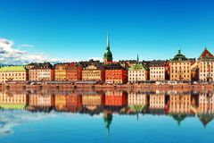 Old Town in Stockholm, Sweden. Scenic summer panorama of the Old Town (Gamla Stan) pier architecture in Stockholm, Sweden Royalty Free Stock Image