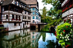 Old town of Strasbourg. Timbered houses in the Petit France in Strasbourg in France Stock Photo