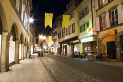 Old town strasbourg by night. Old town street strasbourg in france by night historical buildings and cobblestone Stock Photos