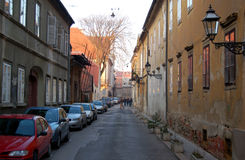 Old town street. Street in the old part of the city in Zagreb; this part of the city, located on the hill, is called the Upper town and still has a 19 century stock image