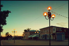 The old town street in Balashov at dawn. Facades of old houses built before 1900 Stock Photos