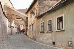 Old town street in brasov romania Royalty Free Stock Photos