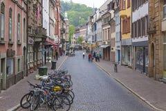 Old town street in Freiburg im Breisgau city, Germany Stock Photography