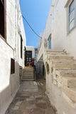 Old town street in Naxos island, Cyclades Stock Photo
