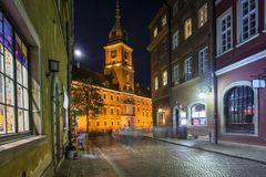 Old Town street at night in Warsaw Stock Photo