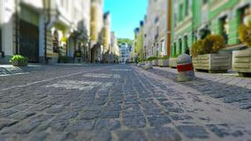 Old town street in retro colors. Creative abstract urban architecture retro background: low angle view of the walk by the Old Town street with stone pavement stock video