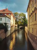Old town street. River gulf in Prague, Europe Stock Photography