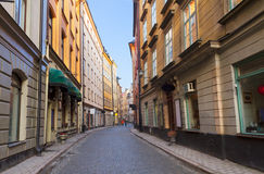 Old town street in Stockholm, Sweden Stock Image