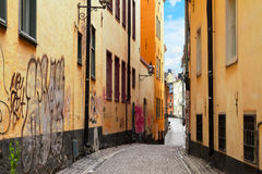 Old town street in Stockholm, Sweden Stock Photography