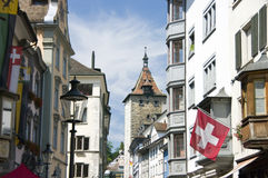 Old town street in Switzerland royalty free stock photos