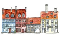 Old town street vew. Hand drawn watercolor and ink illustration of the houses in old european town street. Design for tourists goods, backgrounds stock illustration