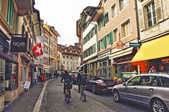 Old town street view Lucerne Switzerland Royalty Free Stock Photo