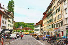 Old town street view Lucerne Switzerland Stock Photography