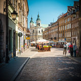 Old town street in Warsaw, Poland, Europe. Royalty Free Stock Images