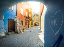 Old town street in Warsaw, Poland, Europe. Stock Photos