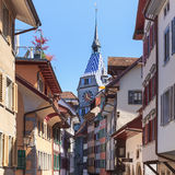 Old town street in Zug city Royalty Free Stock Photography