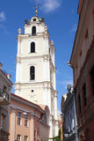 Old Town streets and St John's Church in Vilnius University, Vil Royalty Free Stock Photos