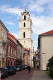Old Town streets and St John's Church in Vilnius University, Vil Stock Images