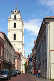 Old Town streets and St John's Church in Vilnius University, Vil Royalty Free Stock Image