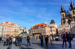 Old Town Square in Prague. PRAGUE, CZECH REPUBLIC - NOVEMBER 13, 2015: Old Town Square with various architectural styles including the Gothic Church of Our Lady Stock Images