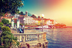 Old town in summer, Italy. Picturesque Como lake and Bellagio town in summertime, Italy Royalty Free Stock Photos