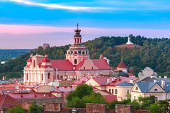 Old town at sunset, Vilnius, Lithuania stock photos