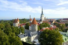 Old town of Tallinn. Sunny view from Patkuli Belvedere Royalty Free Stock Images