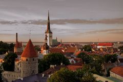 Old town of Tallinn. Red roofs of medieval buildings in the old town of Tallinn (Estonia Stock Images