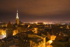Old town of Tallinn, Estonia. City lights and streets from above in Tallinn, Estonia Stock Image