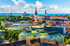 Old Town in Tallinn, Estonia. Scenic summer aerial view of the Old Town architecture in Tallinn, Estonia stock photo