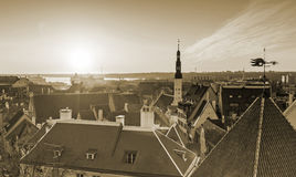 Old town of Tallinn, Estonia. Sepia toned photo Stock Images
