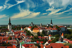Old town of Tallinn, Estonia. View from Oleviste church Royalty Free Stock Image