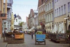 Old town Tallinn, Estonia. TALLINN, ESTONIA - YUNI 14, 2015: Popular tourist street of the old town in Tallinn, Estonia Stock Photo