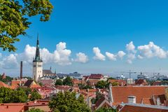 Old town of Tallinn in summer view from Kohtuotsa viewing platform, Estonia royalty free stock photos