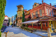 Old town of Tbilisi, Georgia. The old town of Tbilisi, Georgia, with the fairy tale Clock Tower of puppet theater Rezo Gabriadze Stock Photos