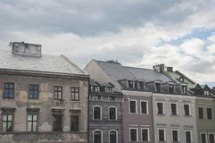 Old town tenement houses. In line and the sky Stock Photo