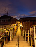 Old town in Thailand. Ladkrabang, Thailand - August 27,2016:simple lifestyle of people at Ladkrabang canal house in the evening.Right now Bangkok have only few Royalty Free Stock Photos