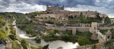 Old town in Toledo. Panoramic view in the old city in Toledo. Spain royalty free stock photography