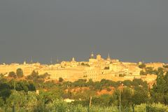 Skyline of Toledo and a coming thunderstorm,Spain Royalty Free Stock Image