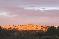 Sunset colors of the ancient town of Toledo (Unesco), Castilla la Mancha, Spain Royalty Free Stock Image
