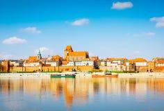 Old town of Torun, Poland. Old town of Torun on bank of Vistula river, Poland, retro toned stock image