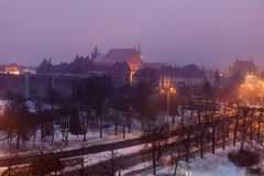 Old Town of Torun at night. Torun, Kuyavian-Pomeranian Voivodeship, Poland stock photos