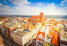 Old town of Torun, Poland. Streets of old town in Torun, Poland, retro toned royalty free stock images