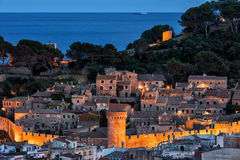 Old Town of Tossa de Mar at Dusk Stock Photography