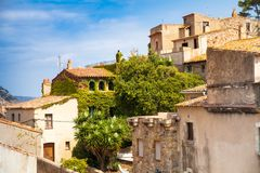 Old town of Tossa de mar. Medieval buildings next to the castle. City and old fortifications. Narrow streets and monuments in the. Beautiful Catalan city on the Royalty Free Stock Photo
