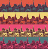 Old town with tower and fortress vector seamless pattern. Middle age fairy city endless texture. Royalty Free Stock Photos