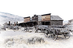 Cody, Wyoming, Old Wooden Wagons in a Ghost Town, United States. The Old Town Trail, in Cody, Wyoming, is a collection of historical buildings and artefacts Stock Photos