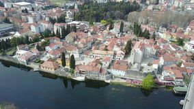 The old town of Trebinje from the air. View of the old town of Trebinje from the air Royalty Free Stock Photos