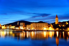 Old town of Trogir in Dalmatia, Croatia by night Royalty Free Stock Images
