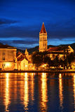 Old town of Trogir in Dalmatia, Croatia by night Royalty Free Stock Photography